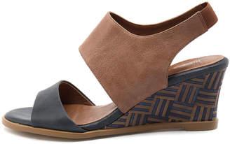 Django & Juliette Undez Navy-tan Sandals Womens Shoes Casual Heeled Sandals