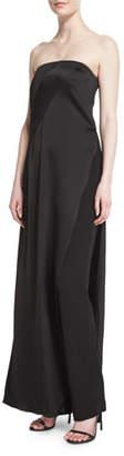 Donna Karan Strapless Matte & Shine Jumpsuit, Black