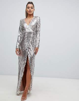 Club L London fully embellished sequin wrap front maxi dress