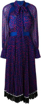 Self-Portrait pleated patterned dress
