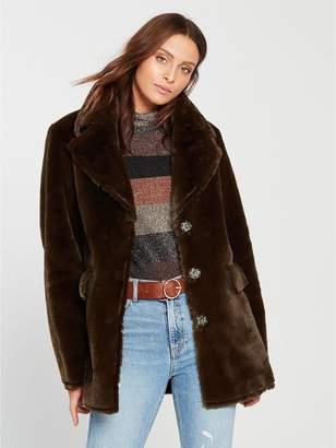 Warehouse Femme Faux Fur Coat - Chocolate