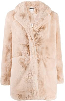 Apparis shearling buttoned coat