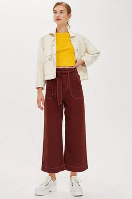 Topshop Contrast Stitch Utility Crop Wide Trousers