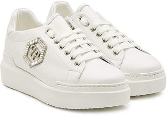 Philipp Plein Leather Sneakers with Crystals