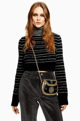 Topshop Stripe Funnel Neck Cropped Jumper