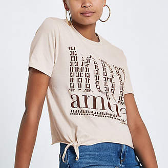 River Island Womens Beige print tie front cropped T-shirt