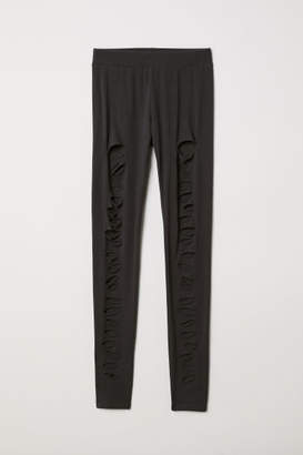 H&M Jersey Leggings with Rips - Black