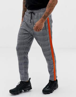 N. Liquor Poker pants with heritage print and side stripe in gray