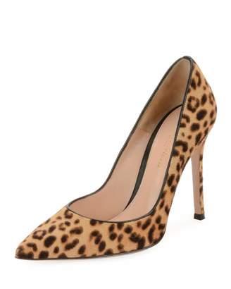 Gianvito Rossi Leopard-Print Calf Hair Pumps