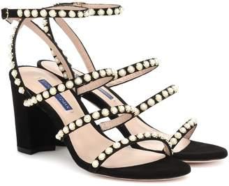 Stuart Weitzman Perrine embellished suede sandals