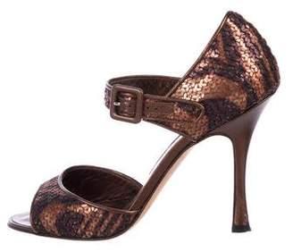 Manolo Blahnik Sequined Ankle Strap Sandals