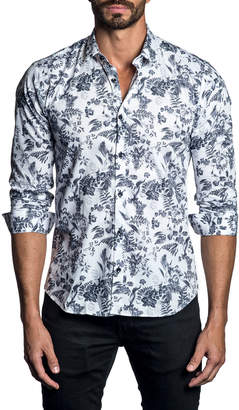 Jared Lang Men's Semi-Fitted Floral-Print Woven Shirt