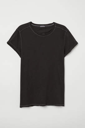 H&M Raw-edge T-shirt - Black