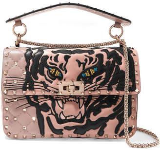 Valentino Garavani The Rockstud Spike Medium Appliquéd Quilted Leather Shoulder Bag - Pink
