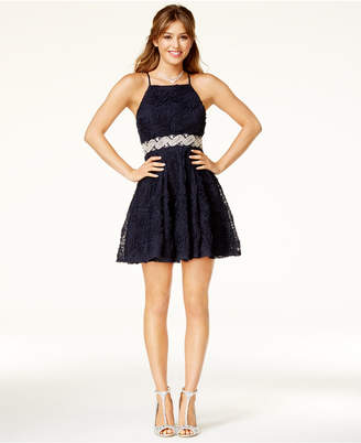 Trixxi Juniors' Embellished Soutache Fit & Flare Dress