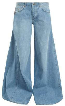Raey Moon Godet Insert Wide Leg Jeans - Womens - Light Blue