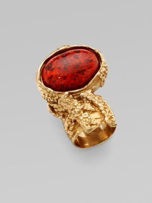 Saint Laurent Goldtone Arty Ovale Ring