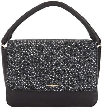 Karl Lagerfeld Paris Babette Pebbled Leather Flap-Top Satchel Bag