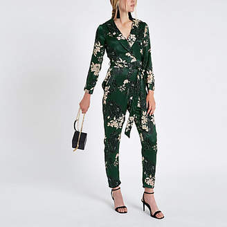 River Island Green floral wrap tailored leg jumpsuit