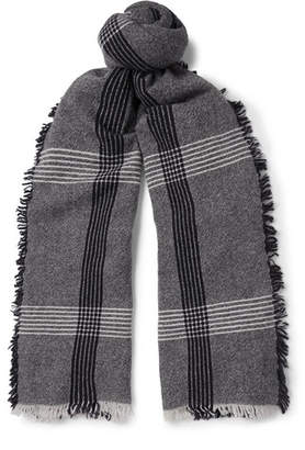BeauFort Begg & Co Fringed Checked Wool And Cashmere-Blend Scarf