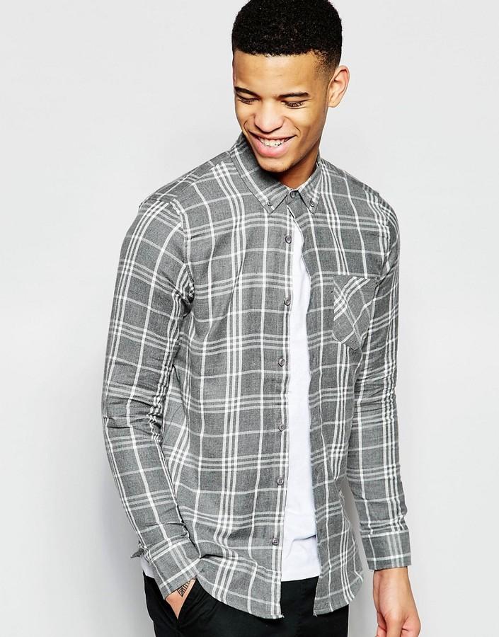 PULL&BEAR Pull&Bear Checked Shirt in Gray Regular Fit