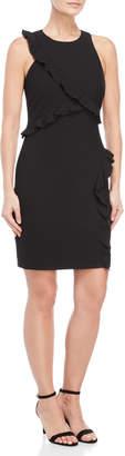 Nicole Miller Black Stretchy Ruffle Dress