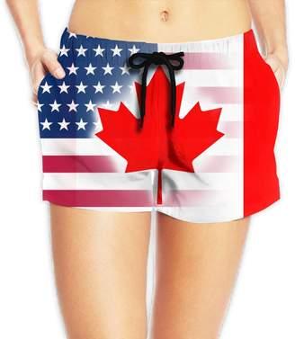 Trunks PINE-TREE-CA Women Summer Holiday USA Canada Flag Casual Beach Board Shorts Swim
