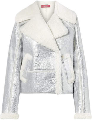 Sies Marjan Hensley Metallic Textured-leather And Shearling Jacket