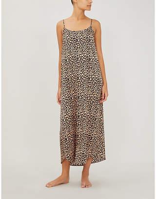 Selfridges Yolke Juno leopard-print stretch-silk slip dress