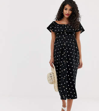 66a016fad16 Asos DESIGN Maternity midi button through sundress with tiered skirt in  polka dot