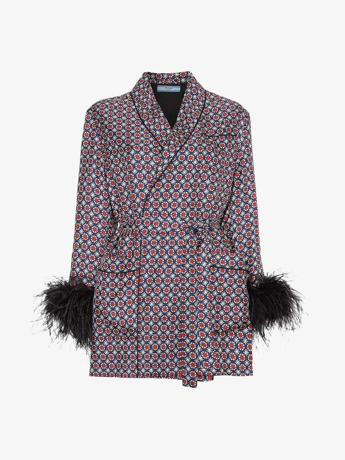 feather tile print jacket