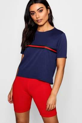 boohoo Sports Stripe Placement T-Shirt