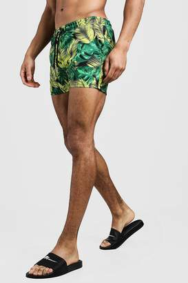 Palm Print Short Length Swim Shorts