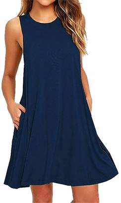 68fc4f54e2c02 WO-STAR Women s Sleeveless Pockets Casual Swing T-Shirt Dresses XL