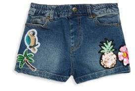 Hannah Banana Little Girl's Tropical Denim Shorts
