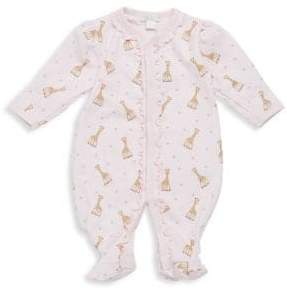 Kissy Kissy Baby's Giraffe-Print Ruffled Pima Cotton Footie