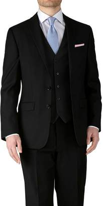 Charles Tyrwhitt Black Classic Fit Twill Business Suit Wool Jacket Size 40