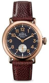 Shinola Runwell Rose Goldtone Stainless Steel& Leather Strap Watch