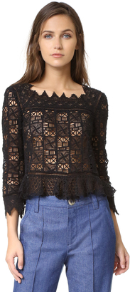 Rebecca Taylor Long Sleeve Crochet Lace Top $450 thestylecure.com