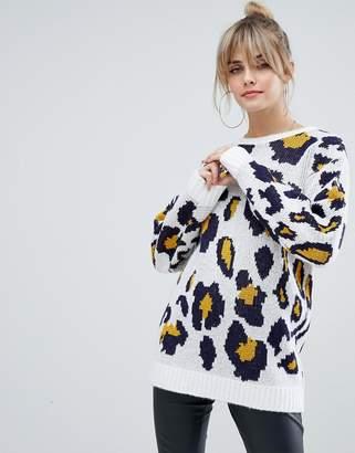 PrettyLittleThing oversized sweater in leopard print