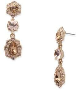 Givenchy White Metal, Glass Stone and Plastic Pearl Triple Drop Earrings