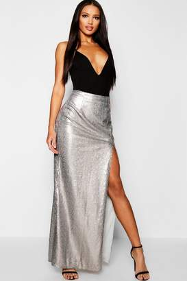 boohoo Sequin Thigh Split Maxi Skirt