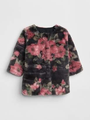 Gap Floral Faux-Fur Coat
