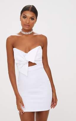 PrettyLittleThing White Scuba Bow Detail Bodycon Dress