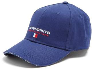 Logo Embroidered Canvas Cap - Mens - Blue Multi