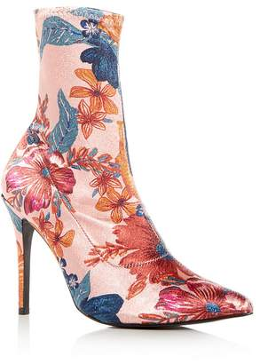 Jaggar Women's Compact Floral Print Stretch Satin Sock Booties