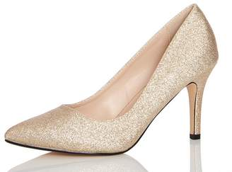 Quiz Gold Glitter Pointed Toe Low Heels