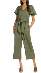Tahari Crop V-Neck Jumpsuit
