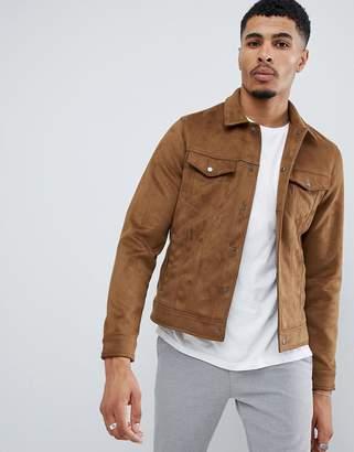 New Look faux suede western jacket in tan