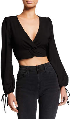 J.o.a. Twist-Front Bell-Sleeve Crop Top
